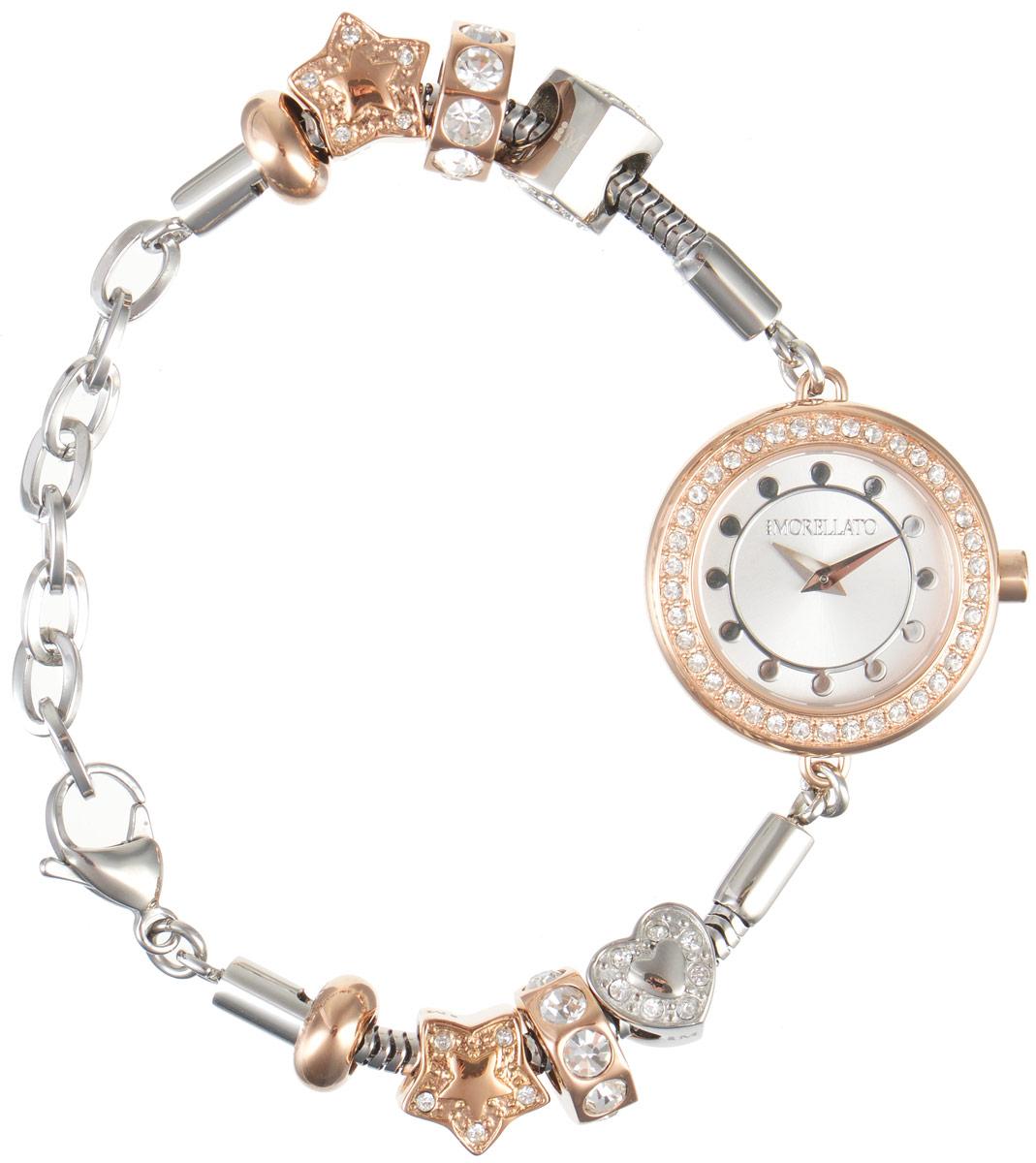 Часы наручные женские Morellato, цвет: серебристый. R0153122511R0153122511Изысканные женские часы Morellato изготовлены из высокотехнологичной гипоаллергенной нержавеющей стали. Ремешок выполнен из нержавеющей стали с PVD-покрытием и оснащен практичной застежкой-карабином. Кварцевый механизм имеет степень влагозащиты равную 3 Bar и дополнен часовой и минутной стрелками. Корпус часов украшен ободком из цирконов. Браслет выполнен из соединяющихся между собой элементов в стиле Пандора, инкрустированных цирконами. Для того чтобы защитить циферблат от повреждений в часах используется высокопрочное минеральное стекло. На белом циферблате отметки в виде точек органично сочетаются с маленькими стрелками. Браслет комплектуется надежным и удобным в использовании замком-карабином, который позволит с легкостью снимать и надевать часы. Часы упакованы в фирменную коробку и дополнительно в подарочную коробку с названием бренда. Часы Morellato подчеркнут изящность женской руки и отменное чувство стиля у их обладательницы.