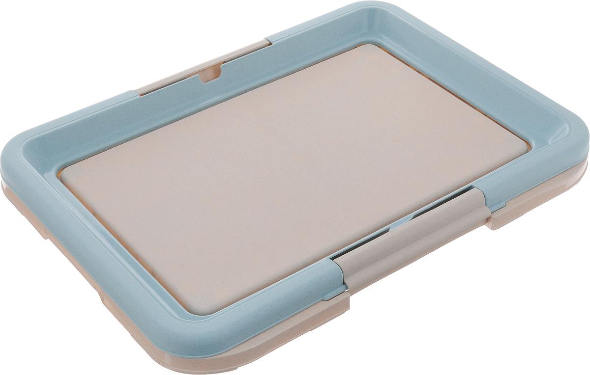 Туалет для собак Каскад, под пеленку, цвет: голубой, серый, 47 х 34 х 4 см9312220_голубой, серыйТуалет Каскад, изготовленный из высококачественного пластика, предназначен для собак и щенков. Гигиеническая пеленка помещается под борт и удерживается боковыми фиксаторами. Туалет легко моется водой. Гигиеническая пеленка в комплект не входит.