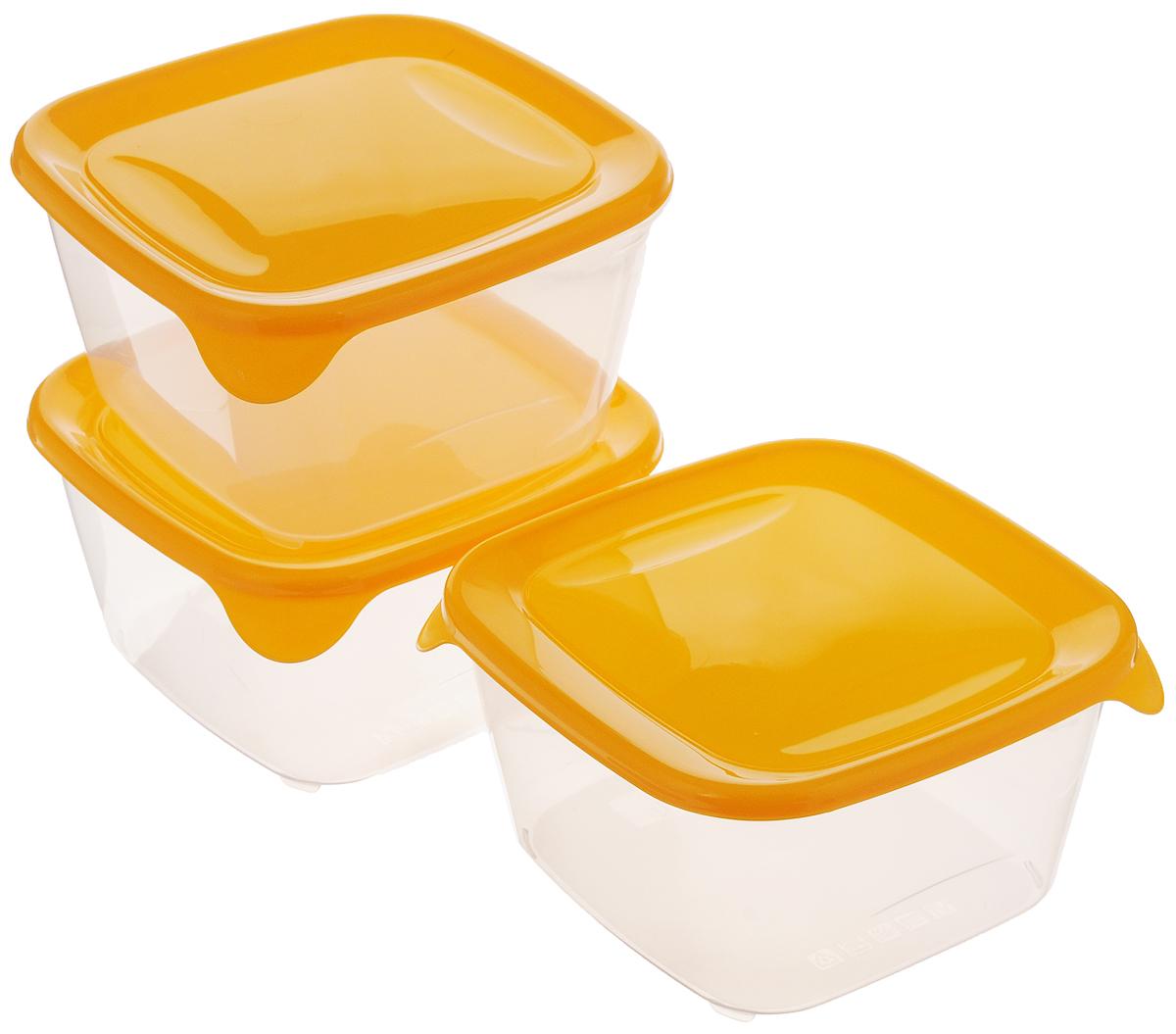 Набор контейнеров для СВЧ Curver Fresh & Go, цвет: оранжевый, прозрачный, 1,2 л, 3 шт8560_оранжевый, прозрачныйНабор Curver Fresh & Go состоит из 3 квадратных контейнеров с плотно закрывающимися цветными крышками. Предметы набора изготовлены из высококачественного пищевого пластика (BPA free), который выдерживает температуру от -40°С до +100°С. Стенки контейнеров прозрачные. Такой набор удобно брать с собой на работу, учебу, пикник или просто использовать для хранения пищи в холодильнике. Можно использовать в микроволновой печи и для заморозки в морозильной камере. Можно мыть в посудомоечной машине. Размер контейнера (без учета крышки): 15 х 15 х 8,2 см.