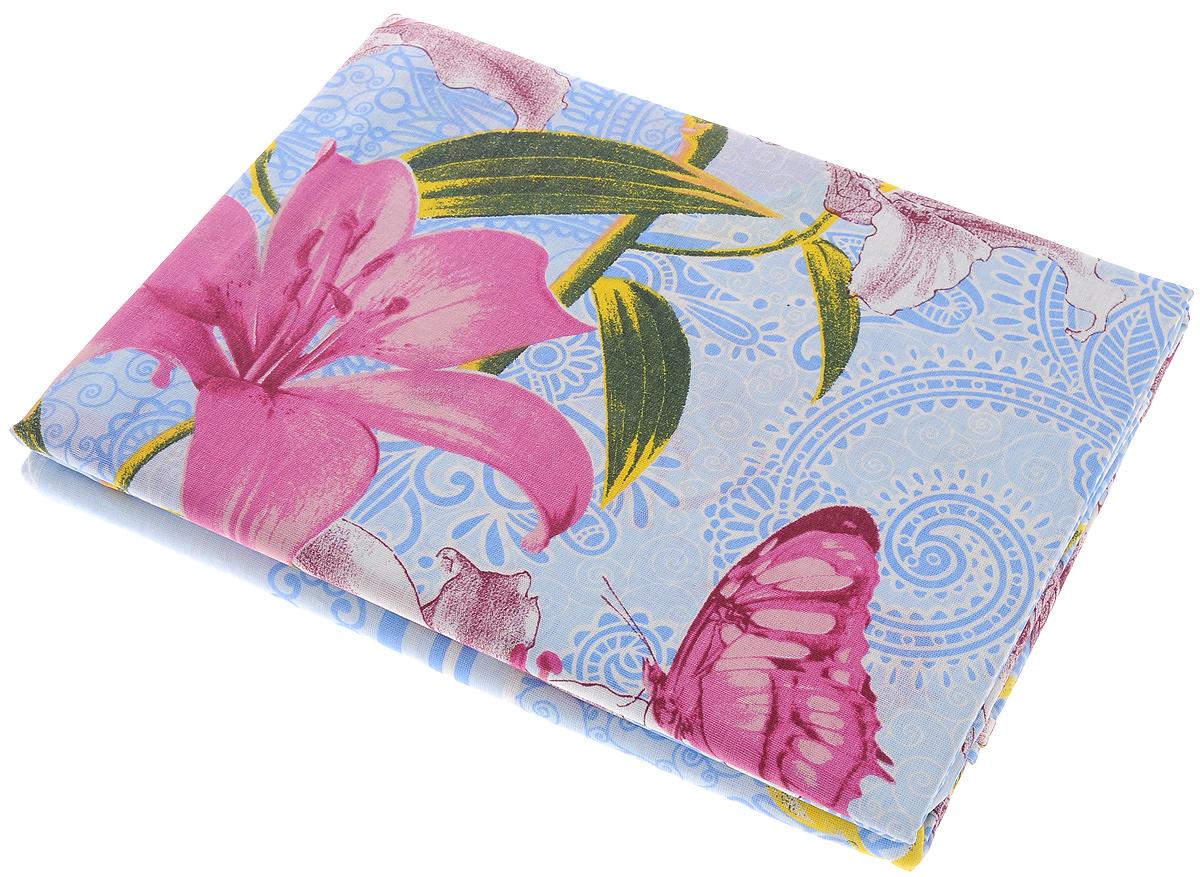 """Комплект белья Олеся """"Летний комплект. Орхидея"""", 2-спальный, наволочки 70х70, цвет: голубой, розовый"""