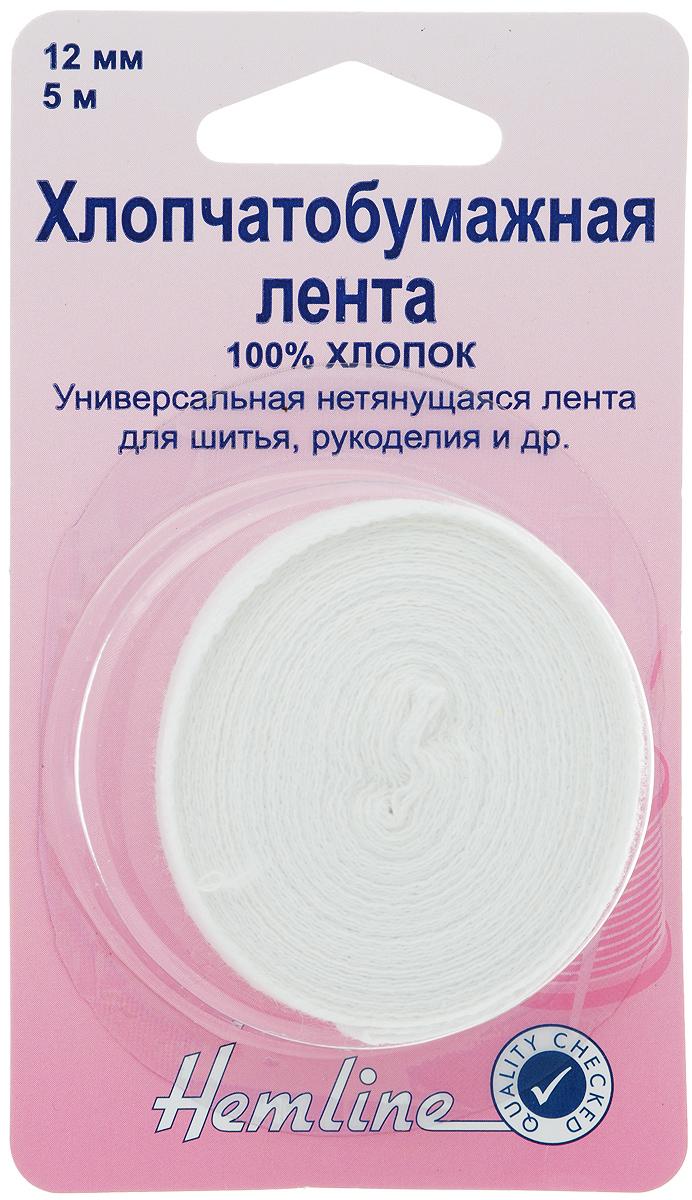 Лента для укрепления швов Hemline, цвет: белый, 1,2 х 500 см540.12Универсальная пришивная лента Hemline предназначена для укрепления швов. Она выполнена из высококачественной хлопчатобумажной ткани, не тянется. Лента применяется в рукоделии, шитье и других работах в рукоделии.