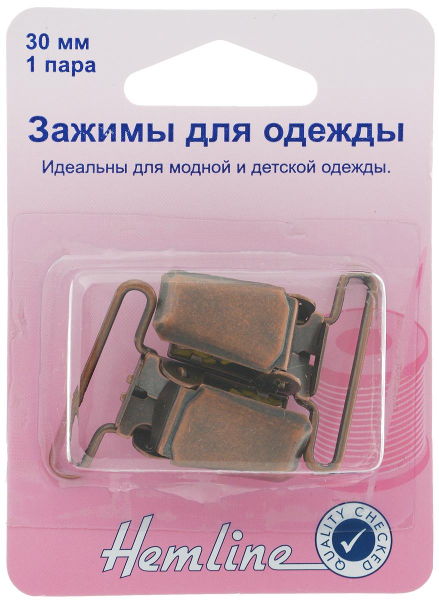 Застежка для комбинезона Hemline, цвет: бронза, 2 шт457.BRИзделие Hemline применяется в качестве удобной застежки для детского, женского и мужского ассортимента комбинезонов. Застежка выполнена из прочного металла. В комплект входит 1 пара застежек.