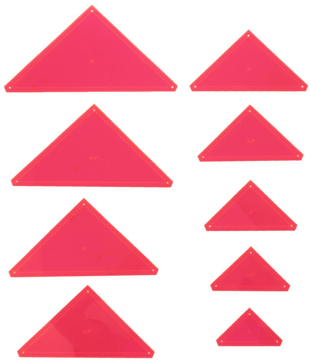 Набор лекал для пэчворка Hemline Треугольники, 9 штERGG08.PNKУниверсальные лекала Hemline Треугольники выполнены из высококачественного акрила. Их можно использовать при создании различных узоров, аппликаций и блоков. Быстрое нанесение припусков на швы. Углы 45° обеспечивают аккуратное выполнение работы. Лазерный срез края позволяет делать ровные, более аккуратные линии. В комплект входит инструкция на русском языке . Размер: 2, 2,5, 3, 3,5, 4, 4,5, 5, 5,5, 6.