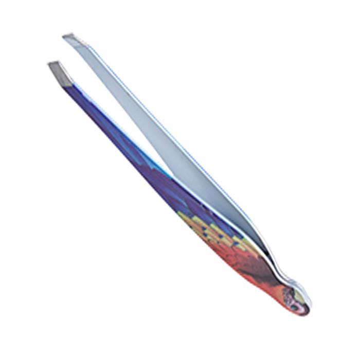 Пинцет для бровей Solinberg 010BDR, цветной, наклонное окончание с четкими гранями
