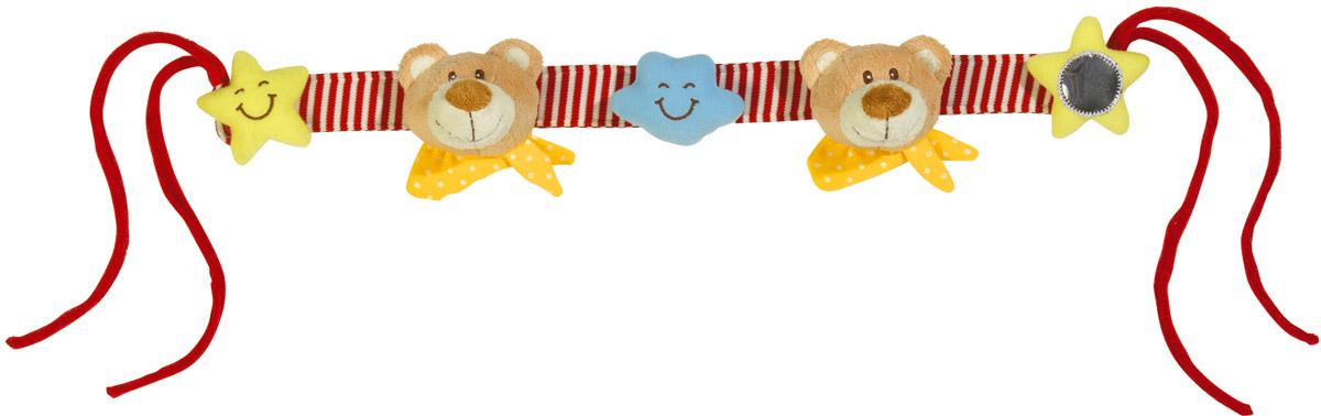 Simba Подвеска на коляску Мишки4017584_мишкиПодвеска на коляску Simba Мишки не оставит вашего малыша равнодушным и не позволит ему скучать! Подвеска выполнена в виде двух плюшевых мордочек медвежат, звездочек и тучки, пришитых на полосатую текстильную ленту. Тучка, расположенная в центре подвески, снабжена гремящим элементам. На концах ленты-подвески имеются цветные шнурки, при помощи которых игрушку удобно крепить не только на коляску, но и на кроватку, автомобильное кресло. Ваш ребенок с удовольствием будет изучать яркие элементы подвески. Игрушка поможет вашему малышу познакомиться с основными цветами и развить звуковосприятие и мелкую моторику рук.
