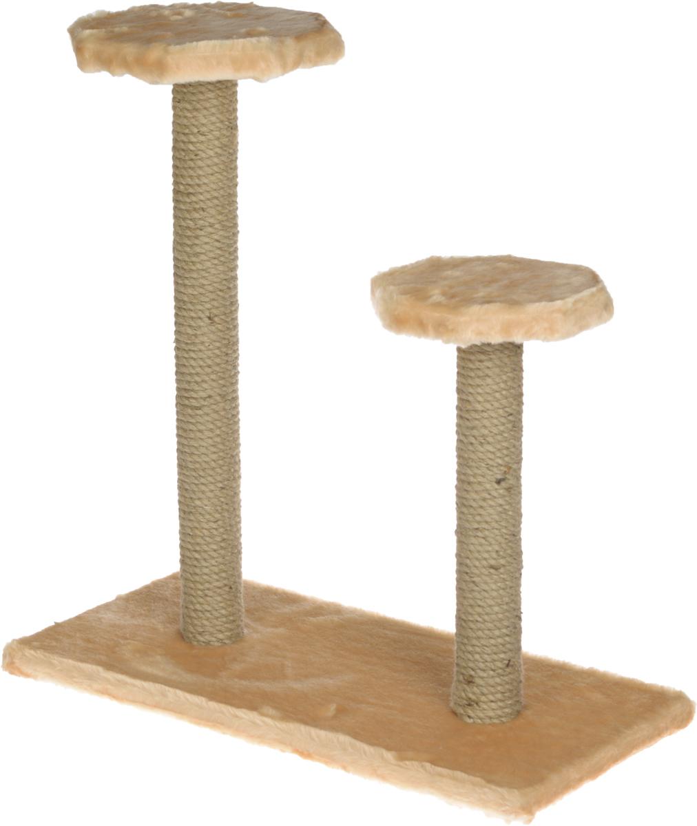 Когтеточка ЗооМарк, на подставке, с полками, цвет: бежевый, 56 х 31 х 64 см108_бежевыйКогтеточка ЗооМарк поможет сохранить мебель и ковры в доме от когтей вашего любимца, стремящегося удовлетворить свою естественную потребность точить когти. Когтеточка изготовлена из дерева, искусственного меха и джута. Товар продуман в мельчайших деталях и, несомненно, понравится вашей кошке. Имеется две полки. Всем кошкам необходимо стачивать когти. Когтеточка - один из самых необходимых аксессуаров для кошки. Для приучения к когтеточке можно натереть ее сухой валерьянкой или кошачьей мятой. Когтеточка поможет вашему любимцу стачивать когти и при этом не портить вашу мебель.