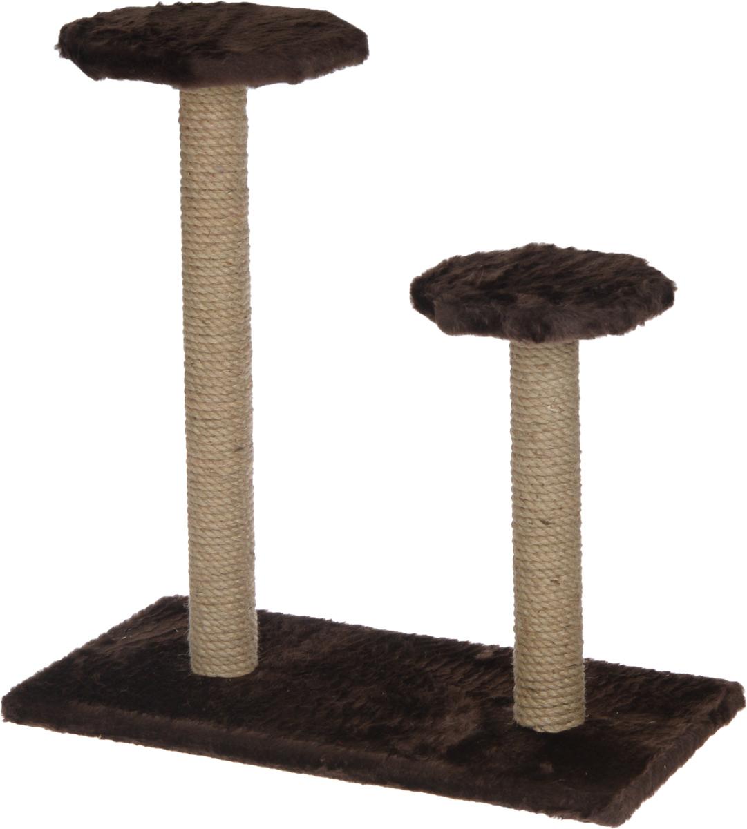 Когтеточка ЗооМарк, на подставке, с полками, цвет: темно-коричневый, 56 х 31 х 64 см108_темно-коричневыйКогтеточка ЗооМарк поможет сохранить мебель и ковры в доме от когтей вашего любимца, стремящегося удовлетворить свою естественную потребность точить когти. Когтеточка изготовлена из дерева, искусственного меха и джута. Товар продуман в мельчайших деталях и, несомненно, понравится вашей кошке. Имеется две полки. Всем кошкам необходимо стачивать когти. Когтеточка - один из самых необходимых аксессуаров для кошки. Для приучения к когтеточке можно натереть ее сухой валерьянкой или кошачьей мятой. Когтеточка поможет вашему любимцу стачивать когти и при этом не портить вашу мебель.