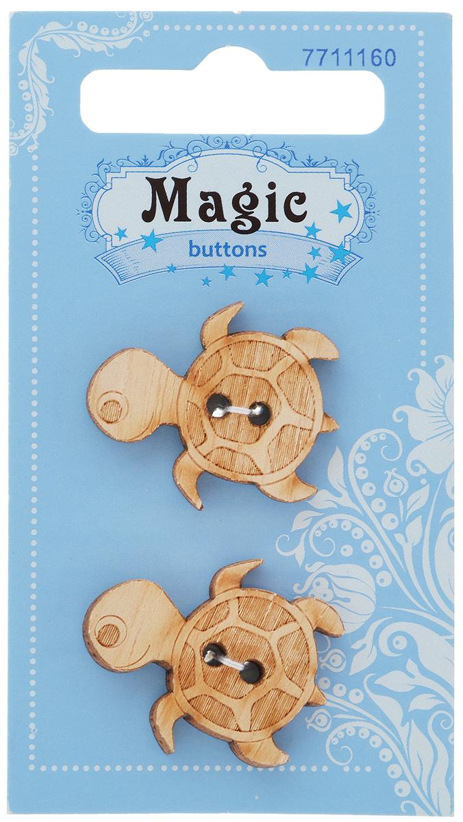 Пуговицы декоративные Magic Buttons Черепаха, 2 шт7711160Набор Magic Buttons Черепаха состоит из 2 пуговиц, выполненных из натурального дерева. Такие изделия подходят для любых видов творчества: скрапбукинга, декорирования, шитья, изготовления кукол, а также для оформления одежды. С их помощью вы сможете украсить открытку, фотографию, альбом, подарок и другие предметы ручной работы.