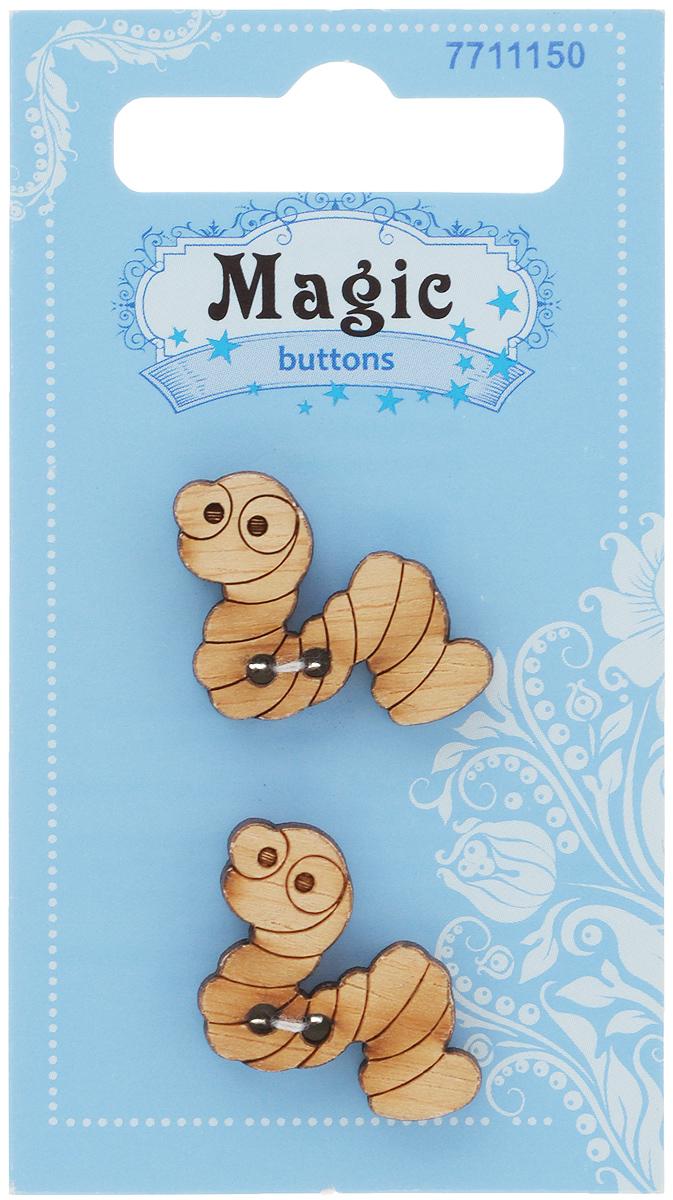 Пуговицы декоративные Magic Buttons Червячок, 2 шт7711150Набор Magic Buttons Червячок состоит из 2 пуговиц, выполненных из натурального дерева. Такие изделия подходят для любых видов творчества: скрапбукинга, декорирования, шитья, изготовления кукол, а также для оформления одежды. С их помощью вы сможете украсить открытку, фотографию, альбом, подарок и другие предметы ручной работы.