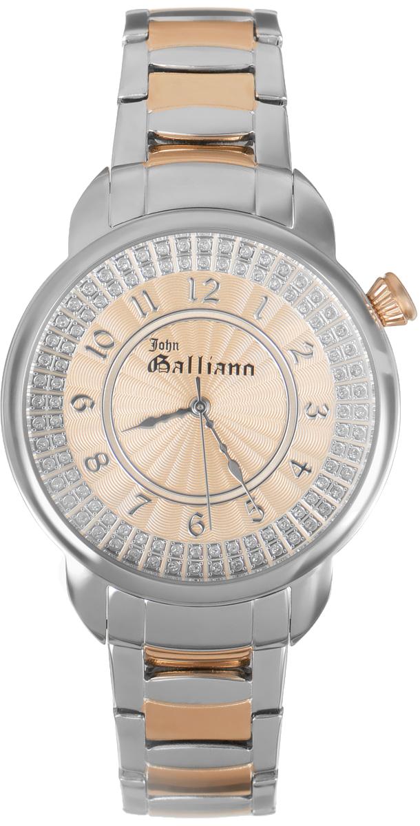 Часы наручные женские Galliano, цвет: розовое золото. R2553126503R2553126503Наручные женские часы Galliano произведены из материалов самого высокого качества на базе новейших технологий. Они оснащены точным кварцевым механизмом. Корпус часов изготовлен из нержавеющей стали с PVD-покрытием, циферблат инкрустирован стразами и защищен минеральным стеклом. Ремешок выполнен из нержавеющей стали с PVD-покрытием оснащен удобной раскладывающейся застежкой, которая позволит моментально снимать и одевать часы без лишних усилий Циферблат круглой формы оснащен арабскими цифрами, а так же тремя стрелками - часовой, минутной и секундной. Часы являются водостойкими - 3АТМ. Изделие укомплектовано в стильную фирменную коробку с названием бренда. Наручные часы Galliano созданы для современных девушек, которые не желают потерять свою индивидуальность в городской суете.