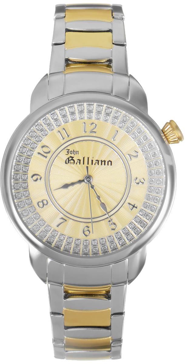Часы наручные женские Galliano, цвет: серебро, золото. R2551126504R2551126504Наручные женские часы Galliano произведены из материалов самого высокого качества на базе новейших технологий. Они оснащены точным кварцевым механизмом. Корпус часов изготовлен из нержавеющей стали с PVD-покрытием, циферблат инкрустирован стразами и защищен минеральным стеклом. Ремешок выполнен из нержавеющей стали с PVD-покрытием оснащен удобной раскладывающейся застежкой, которая позволит моментально снимать и одевать часы без лишних усилий Циферблат круглой формы оснащен арабскими цифрами, а так же тремя стрелками - часовой, минутной и секундной. Часы являются водостойкими - 3АТМ. Изделие укомплектовано в стильную фирменную коробку с названием бренда. Наручные часы Galliano созданы для современных девушек, которые не желают потерять свою индивидуальность в городской суете.