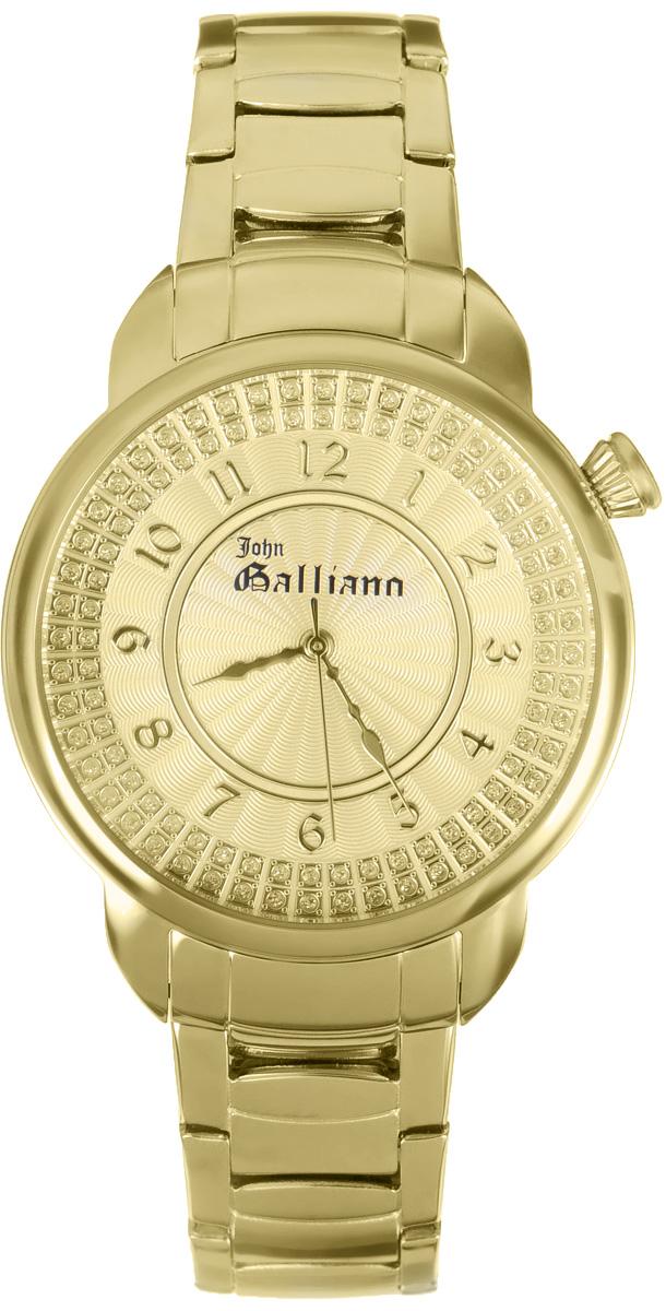 Часы наручные женские Galliano, цвет: золотой. R2553126502R2553126502Наручные женские часы Galliano произведены из материалов самого высокого качества на базе новейших технологий. Они оснащены точным кварцевым механизмом. Корпус часов изготовлен из нержавеющей стали с PVD-покрытием, циферблат инкрустирован стразами и защищен минеральным стеклом. Ремешок выполнен из нержавеющей стали с PVD-покрытием оснащен удобной раскладывающейся застежкой, которая позволит моментально снимать и одевать часы без лишних усилий Циферблат круглой формы оснащен арабскими цифрами, а так же тремя стрелками - часовой, минутной и секундной. Часы являются водостойкими - 3АТМ. Изделие укомплектовано в стильную фирменную коробку с названием бренда. Наручные часы Galliano созданы для современных девушек, которые не желают потерять свою индивидуальность в городской суете.