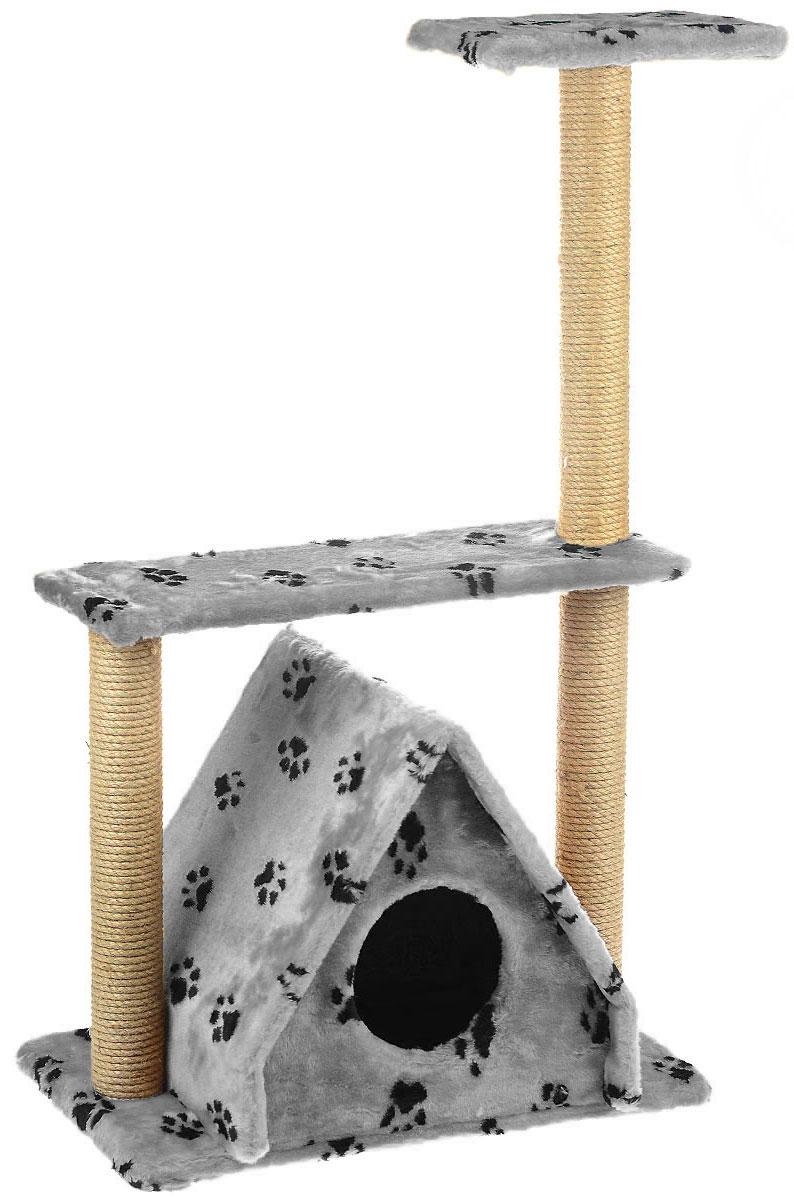 Домик для кошек Пушок Избушка, с тремя когтеточками, цвет: серый4640000931087Большой, уютный домик Пушок Избушка, изготовленный из ДСП, сизаля и искусственного меха, отлично подойдет для котят и взрослых кошек. Такой домик станет не только идеальным местом для подвижных игр вашего любимца, но и местом для отдыха. Благодаря трем столбикам-когтеточкам, обернутым веревками из сизаля, ваша кошка удовлетворит природную потребность точить когти, что поможет сохранить вашу мебель и ковры. Для приучения любимца к когтеточке можно натереть ее сухой валерьянкой или кошачьей мятой. Размер основания: 61 см х 37 см. Высота домика (без когтеточек): 43 см. Общая высота: 105 см.