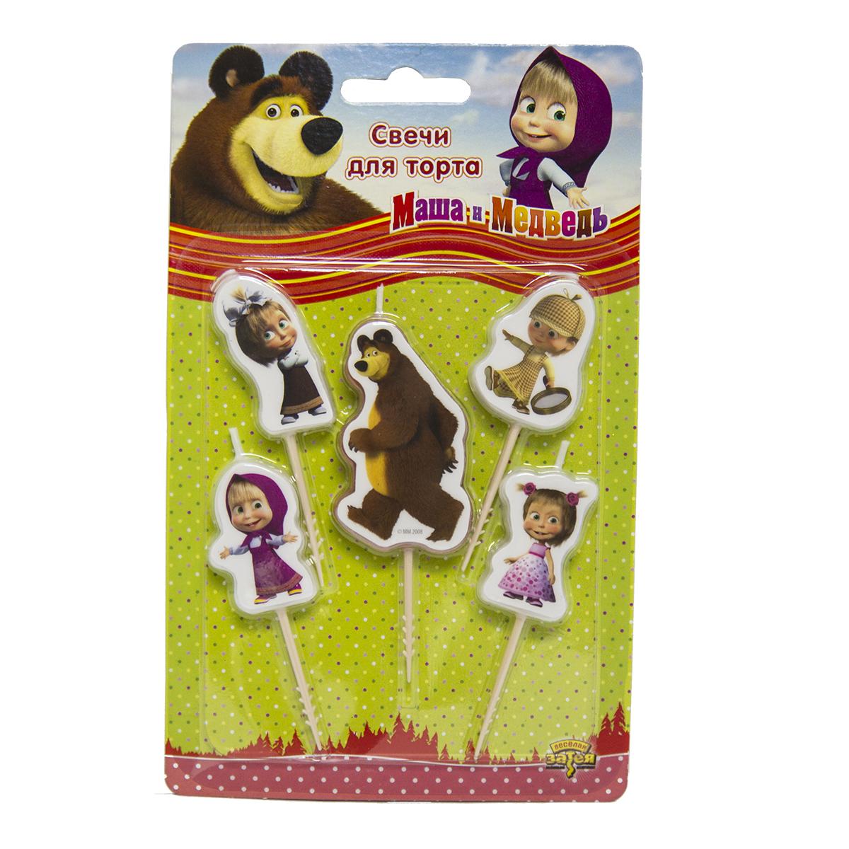 Маша и Медведь Свечи для торта на пиках 5 шт1502-1814Свечи на пиках с героями мультфильма Маша и Медведь украсят любой торт и сделают ваш праздник незабываемо ярким. Праздничный торт - главный атрибут праздника на любом дне рождения, особенно, если это детский день рождения. В наборе 4 свечи с Машей и 1 с Медведем. И следопыт, и ученица, и именинница, и такая знакомая нам озорница в сарафане. Такие разные и веселые свечи Маша и неизменно добрый Медведь. Оригинальные свечи отличное решение для декорирования торта, десерта ко дню рождения, новому году или любому детскому празднику.