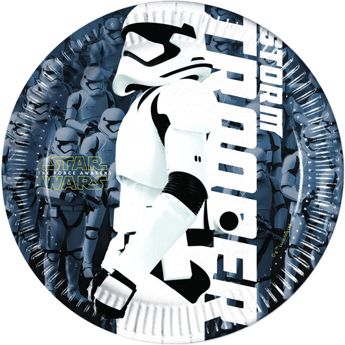 Procos Тарелка Звездные войны 20 см 8 шт1502-1922Бумажные тарелки Procos Звездные войны создадут на вашем празднике атмосферу настоящих галактических приключений. Тарелки специально для поклонников VII эпизода Звёздных войн. В упаковке 8 малых ламинированных тарелок. Диаметр тарелок 20 см.