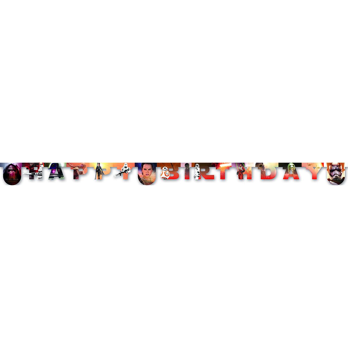 Procos Гирлянда-буквы Happy Birthday Звездные войны1505-0861Гирлянда-буквы Procos Happy Birthday. Звездные войны выполнена из картона и оформлена изображением героев седьмого эпизода знаменитой саги. Гирлянда представляет собой надпись Happy Birthday, которая очень легко и просто развешивается над потолком, создавая атмосферу волшебного праздника. Элементы гирлянды скрепляются друг с другом с помощью подвижных металлических соединений. Крайние карточки имеют ниточные петли для удобства крепления гирлянды. Такая гирлянда украсит ваш праздник и подарит имениннику отличное настроение.