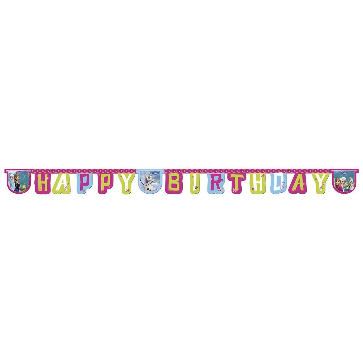 Procos Гирлянда-буквы Happy Birthday Холодное сердце1505-0862Гирлянда-буквы Procos Happy Birthday. Холодное сердце выполнена из картона и оформлена изображением героев любимого мультфильма. Гирлянда представляет собой надпись Happy Birthday, которая очень легко и просто развешивается над потолком, создавая атмосферу волшебного праздника. Элементы гирлянды скрепляются друг с другом с помощью подвижных металлических соединений. Крайние карточки имеют ниточные петли для удобства крепления гирлянды. Такая гирлянда украсит ваш праздник и подарит имениннику отличное настроение.