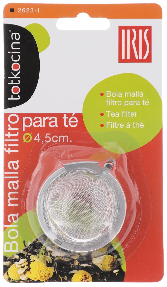 Ситечко для заваривания чая Iris, диаметр 4,5 см2623-IСитечко для заваривания чая Iris изготовлено из высококачественной нержавеющей стали. Удобная конструкция позволяет без особых усилий засыпать заварку в ситечко, поместить его в чашку или чайник с помощью цепочки и после заваривания с легкостью высыпать использованную заварку. При этом напиток остается чистым, как при использовании пакетированного чая, но гораздо более ароматным и полезным. С помощью ситечка удобно контролировать степень заваривания, а в зависимости от количества заварки, одновременно приготовить несколько чашек напитка. Диаметр ситечка: 4,5 см.