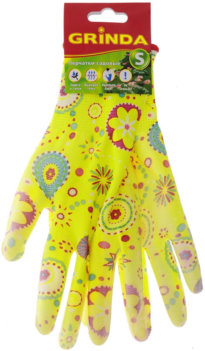 Перчатки садовые Grinda. Размер S11290-SСадовые перчатки Grinda - надежная защита женских рук при работе в саду. Полиуретановое покрытие обеспечивает устойчивость ладонной части к проникновению влаги. Комфортны в использовании благодаря вентиляции тыльной части перчатки. Эластичны и плотно облегают кисть, что обеспечивает дополнительное удобство. Надежно защищают руки от грязи и проникновения земли внутрь перчатки. Сохраняют тактильную чувствительность пальцев благодаря технологии бесшовной вязки. Размер перчаток: S.