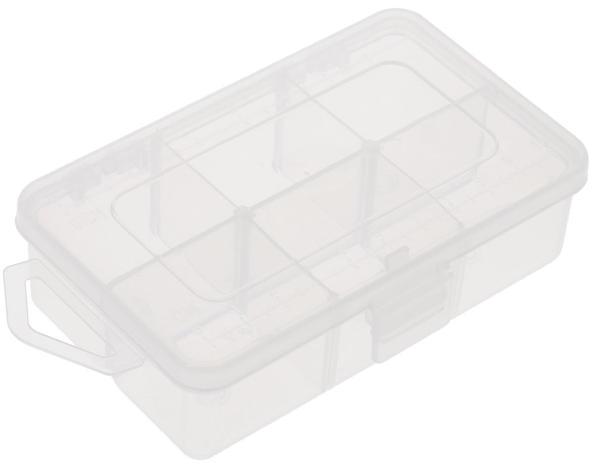 Органайзер для мелкой фурнитуры Hemline, 6 ячеекM3004.XSОрганайзер для мелкой фурнитуры Hemline, выполненный из высококачественного пластика, отлично подойдет для хранения канцелярских принадлежностей дома или в офисе, аксессуаров для шитья и рукоделия, болтов и гаек, а также принадлежностей для рыбалки и других видов хобби. Прозрачный материал позволяет видеть содержимое. Крышка органайзера, оснащенная специальным отверстием для подвешивания, плотно закрывается на защелку, а также имеет метрическую и имперскую шкалу. Такой органайзер поможет хранить ваши вещи в порядке. Размер ячейки: 3,5 х 3 х 3 см. Размер органайзера: 11,7 х 7,1 х 3,5 см.