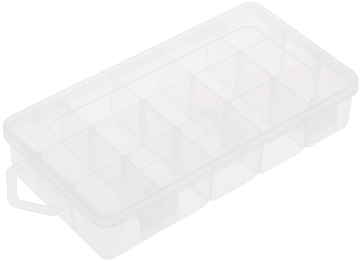 Органайзер для мелкой фурнитуры Hemline, 15 ячеекM3004.SОрганайзер для мелкой фурнитуры Hemline, выполненный из высококачественного пластика, отлично подойдет для хранения канцелярских принадлежностей дома или в офисе, аксессуаров для шитья и рукоделия, болтов и гаек, а также принадлежностей для рыбалки и других видов хобби. Прозрачный материал позволяет видеть содержимое. Крышка органайзера, оснащенная специальным отверстием для подвешивания, плотно закрывается на 2 защелки, а также имеет метрическую и имперскую шкалу. Такой органайзер поможет хранить ваши вещи в порядке. Размер ячейки: 3 х 2,5 х 3 см. Размер органайзера: 16,7 х 8,8 х 3,5 см.