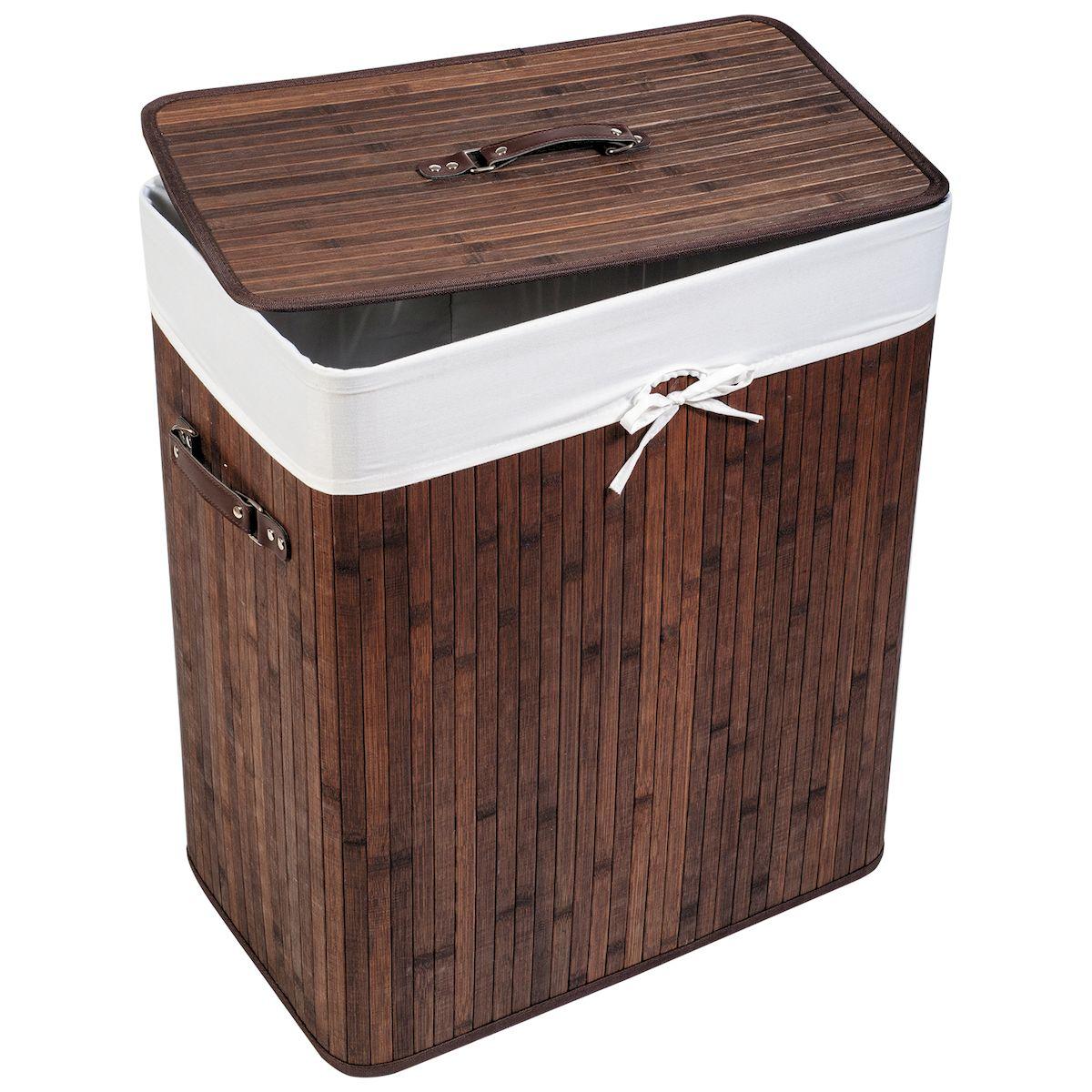 Корзина для белья Tatkraft NEVADA, со съемным чехлом, 105 л15296Большая бамбуковая корзина для белья со съемным текстильным чехлом 105 л. - Натуральный бамбук походит для помещений с высокой влажностью, обладает дезодорирующими и антисептическими свойствами - Съемный чехол легко мыть, удобная крышка с ручкой, боковые ручки, цвета натурального дерева впишутся в любой интерьер. - Размер: 52?32?63(В) см. Материал: натуральный бамбук, текстиль