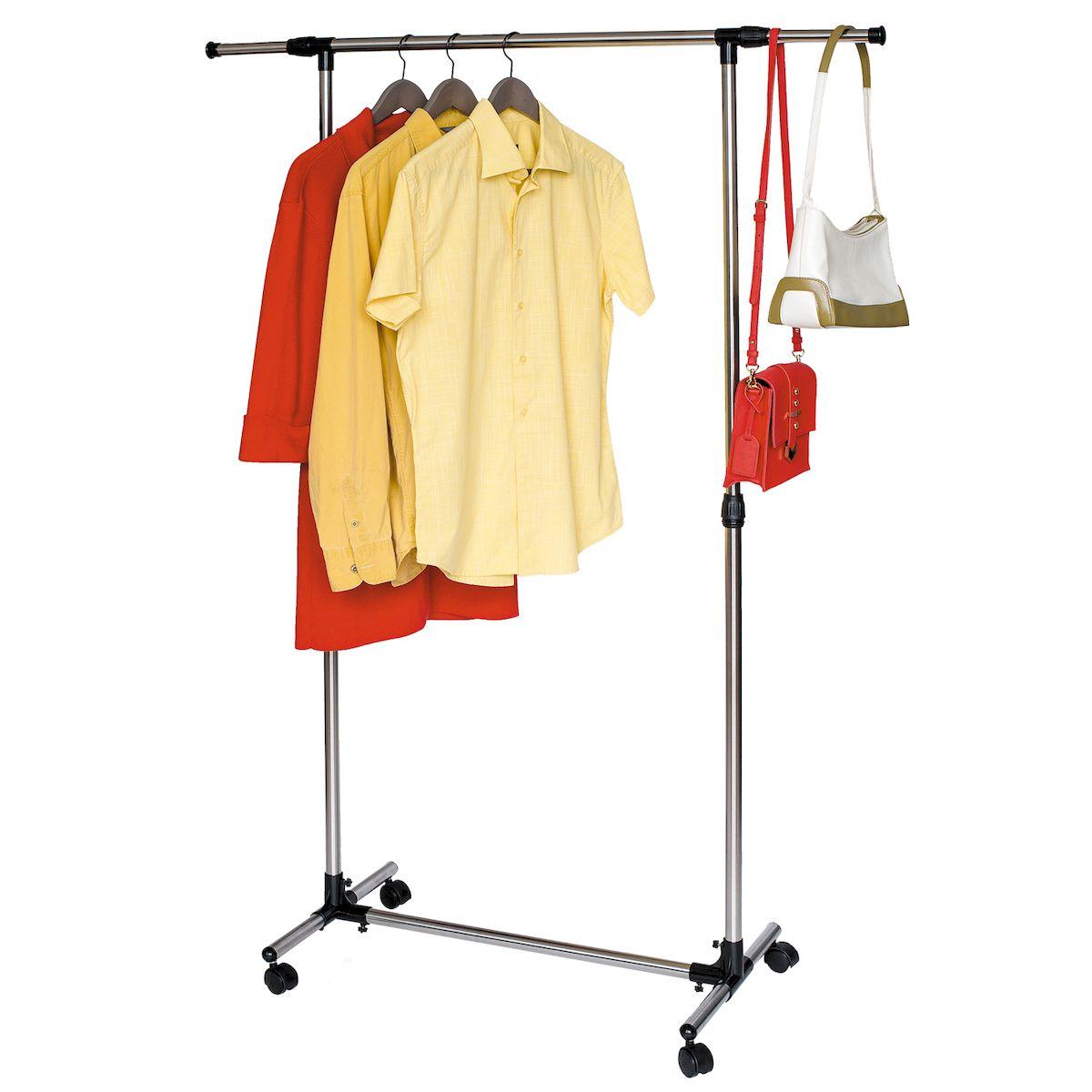Стойка для одежды Tatkraft PEGASUS, с усиленной базой, боковые телескопические штанги16101Улучшение, сильное основание, трубы из нержавеющей стали и армированного пластика, соединители с винтовой фиксацией. - Прочная конструкция и качественные материалы: идеальная вешалка для одежды для дома или офиса. - Попробуйте эту приятные глазу современные мобильные вешалки, а не большой и громоздкий шкаф для одежды. - Регулируемая высота плюс телескопическая боковые полосы от 84 до 136 см - Быстрая и легкая сборка - Размер: 84–136(Ш)х45(Г)х90–158(В)см. - Материал: нержавеющая сталь, пластик. - Выдерживает вес 15 кг, для 25 вешалок, сумммарная длинна для вывешивания 1,3м.