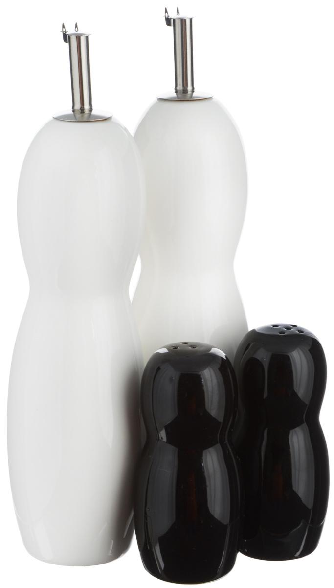 Набор емкостей для специй EcoWoo, цвет: белый, черный, 4 предмета. 2012237U2012237UНабор для современной кухни EcoWoo - это не только идеальный подарок, но и прекрасный повод побаловать себя! В набор входят 2 емкости для масла/уксуса, солонка и перечница. Изделия выполнены из высококачественного фарфора. Такой набор оценят ценители единого современного стиля. Востребованное сочетание цветов выполнено в лучших европейских традициях. Можно мыть в посудомоечной машине. Объем емкостей для масла/уксуса: 600 мл. Высота емкостей для масла/уксуса (без учета крышки): 20 см. Диаметр основания емкостей для масла/уксуса: 4,5 см. Объем солонки/перечницы: 75 мл. Высота солонки/перечница: 10 см. Диаметр основания солонки/перечница: 4 см.