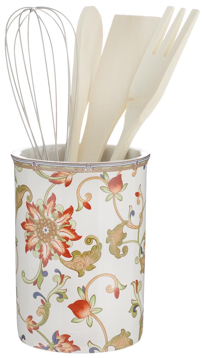 Набор кухонных принадлежностей Imari Кардинал, с подставкой, 5 предметовIM55002-A194ALНабор Imari Кардинал состоит из ложки кулинарной, вилки, венчика, лопатки и подставки. Подставка выполнена из высококачественной керамики и декорирована ярким цветочным узором. Дизайн, эстетичность и функциональность подставки позволят ей стать достойным дополнением к кухонному инвентарю. Вилка, лопатка и ложка изготовлены из натурального дерева, а венчика - из металла. Данный набор придаст вашей кухне элегантность, подчеркнет индивидуальный дизайн и превратит приготовление еды в настоящее удовольствие. Размер подставки: 10 х 10 х 13,5 см. Длина венчика: 25 см. Размер рабочей части венчика: 5,5 х 13 см. Длина кулинарной ложки: 25,5 см. Размер рабочей части кулинарной ложки: 4 х 6 см. Длина вилки: 26 см. Размер рабочей части вилки: 9 х 3,2 см. Длина лопатки: 25 см. Размер рабочей части лопатки: 4 х 7,5 см.