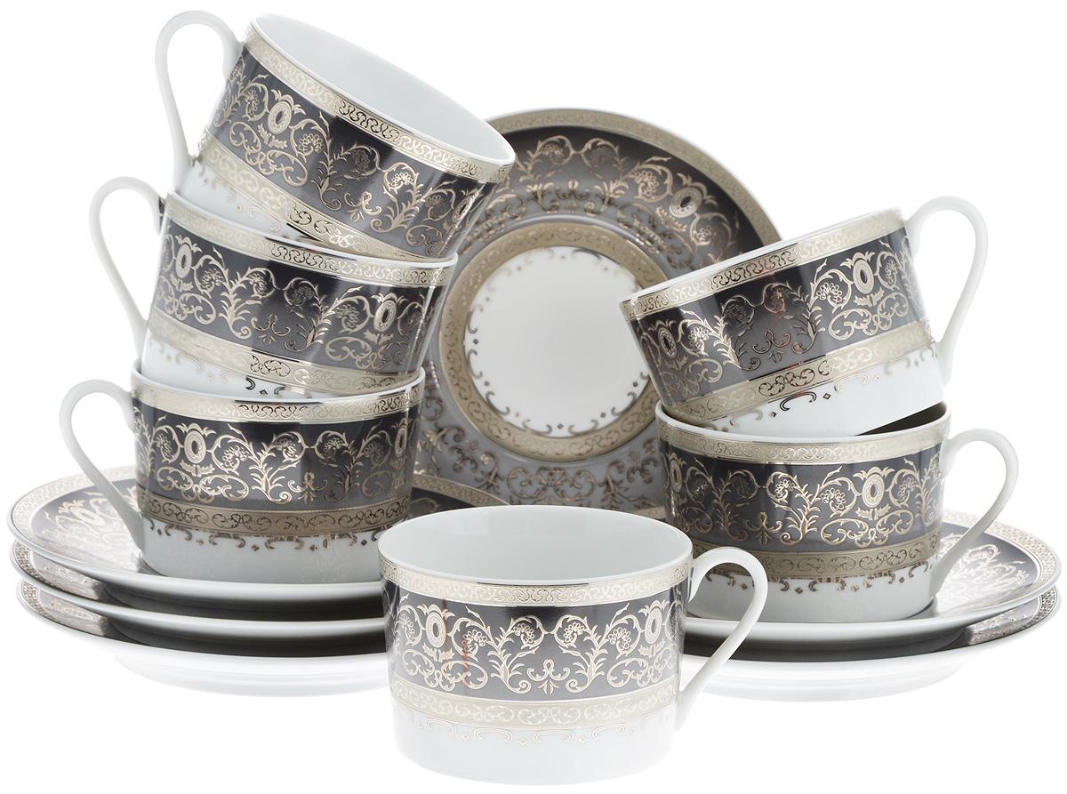 Набор чайный Yves De La Rosiere Mimosa, цвет: белый, темно-серый, 12 предметов539506 1743Чайный набор Yves De La Rosiere Mimosa состоит из 6 чашек и 6 блюдец, изготовленных из высококачественного фарфора. Такой набор прекрасно дополнит сервировку стола к чаепитию, а также станет замечательным подарком для ваших друзей и близких. Объем чашки: 220 мл. Диаметр чашки по верхнему краю: 9 см. Высота чашки: 6 см. Диаметр блюдца: 16 см. Высота блюдца: 2 см.