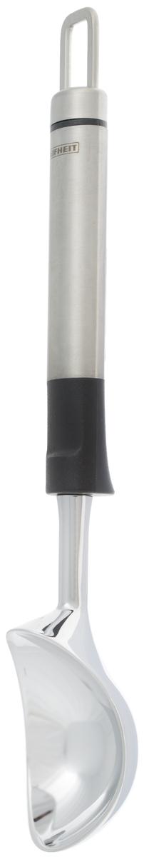 Ложка для мороженого Leifheit Proline, длина 22 см03062Ложка Leifheit Proline изготовлена из нержавеющей стали и пластика с крючком для удобного подвешивания. Прочная конструкция - подходит для твердого мороженого из морозильника. Благодаря отсутствию сварных швов изделие гигиенично и удобно в очистке. Можно мыть в посудомоечной машине. Длина ложки: 22 см. Размер рабочей поверхности: 5,5 х 4 см.