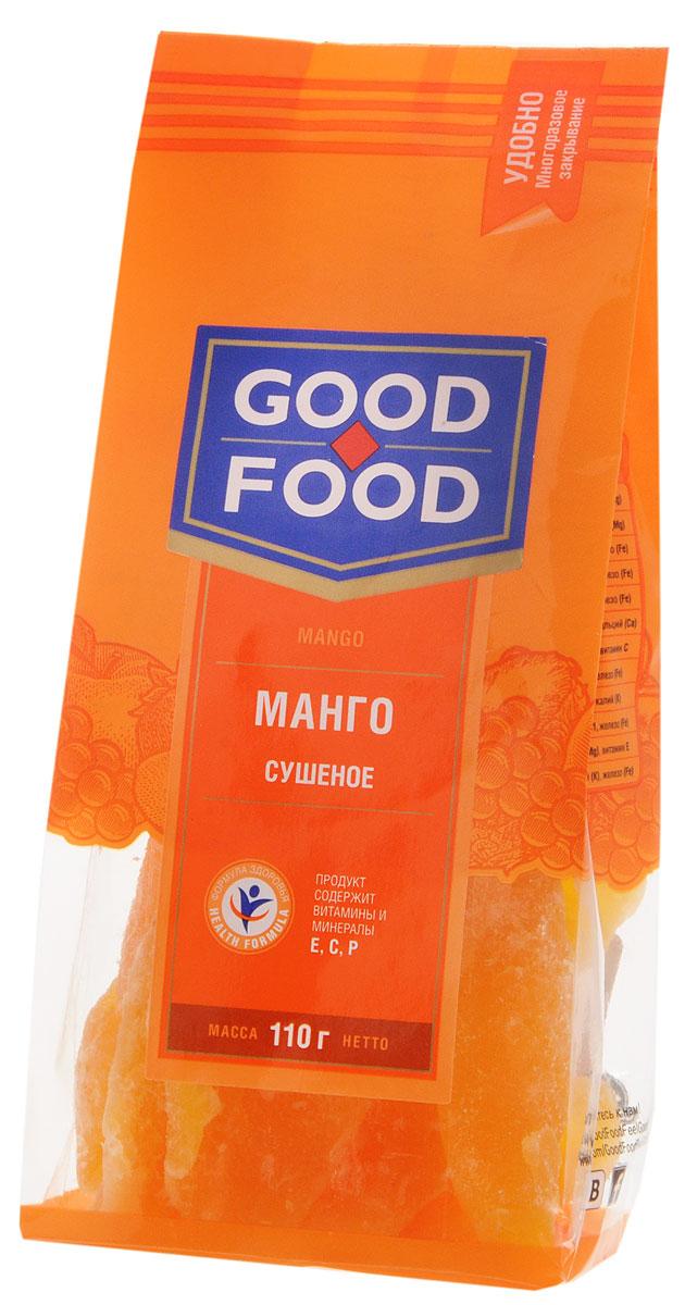 Good Food манго сушеное, 110 г4620000671411Good Food Сушеное манго - это необычайно вкусное и не менее полезное лакомство. Ароматные кусочки сушеного манго могут стать прекрасной альтернативой питательного и одновременно легкого перекуса. Считается также, что манго может быстро снять нервное напряжение, легко повысит настроение и поможет преодолеть стресс. Вещества в составе этого плода способствуют предупреждению таких заболеваний как анемия, гипертония и атеросклероз. Нормализуется работа пищеварительного тракта, и, следовательно, улучшается обмен веществ в организме.