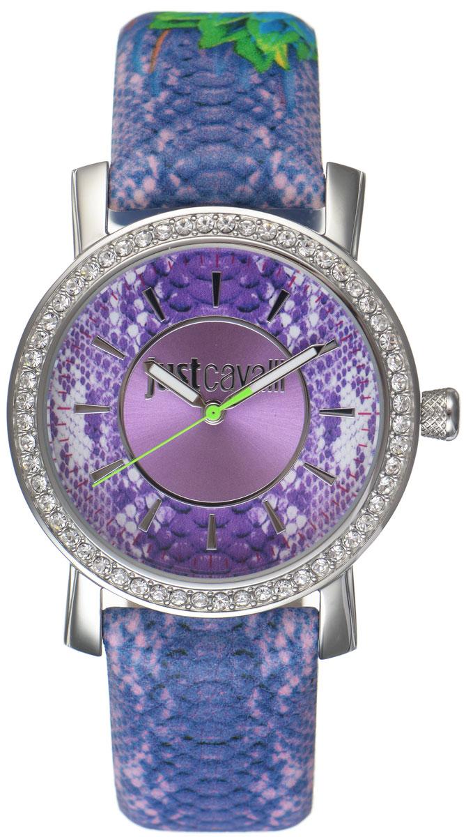 Часы наручные женские Just Cavalli, цвет: фиолетовый. R7251601503R7251601503Яркие женские часы Just Cavalli из коллекции Paradise выполнены из нержавеющей стали и минерального стекла. Изделие дополнено символикой бренда и змеиным принтом. Корпус часов выполнен из нержавеющей стали. Циферблат дополнен минеральным стеклом, инкрустирован стразами Swarovski и имеет степень влагозащиты равную 3 atm. Ремешок из натуральной кожи с естественной фактурой и змеиной раскраской имеет классическую застежку-пряжку. Часы поставляются в фирменной упаковке. Часы Just Cavalli подчеркнут изящность женской руки и отменное чувство стиля у их обладательницы. С этими оригинальными часами вы всегда будете в эпицентре внимания.