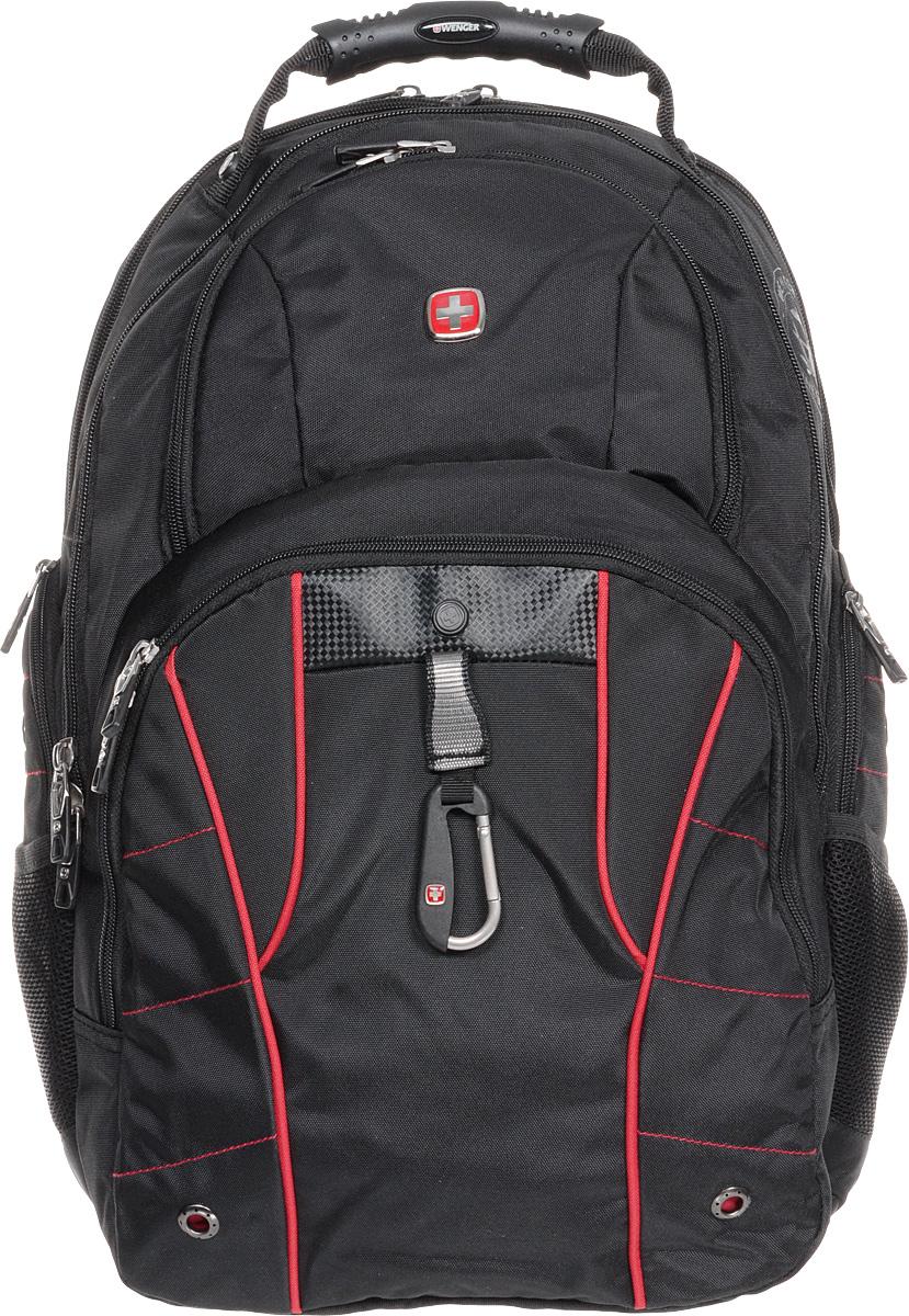 Рюкзак городской Wenger, цвет: черный, красный, 34 х 18 х 47 см, 29 л6939201408Высококачественный и стильный, надежный и удобный, а главное прочный рюкзак Wenger. Благодаря многофункциональности данный рюкзак позволяет удобно и легко укладывать свои вещи. Особенности рюкзака: 2 внешних боковых кармана на молнии с вентиляцией. 2 внешних кармана на молнии. 2 внешних сетчатых кармана для бутылок с водой. Большое основное отделение. Внешний карабин. Внутренний карабин для ключей. Возможность крепления на чемодане. Вставка из искусственной кожи. Отделение для 17 ноутбука с системой ScanSmart. Карман с мягкими стенками для планшетного компьютера шириной 18 см. Карман-органайзер для мелких предметов. Металлические застежки молний с пластиковыми вставками. Петля для очков. Регулируемые плечевые ремни. Ручка с прочным кожухом для переноски. Внутренний сетчатый карман на молнии для хранения аксессуаров ноутбука. Эргономичная спинка с системой циркуляции воздуха...