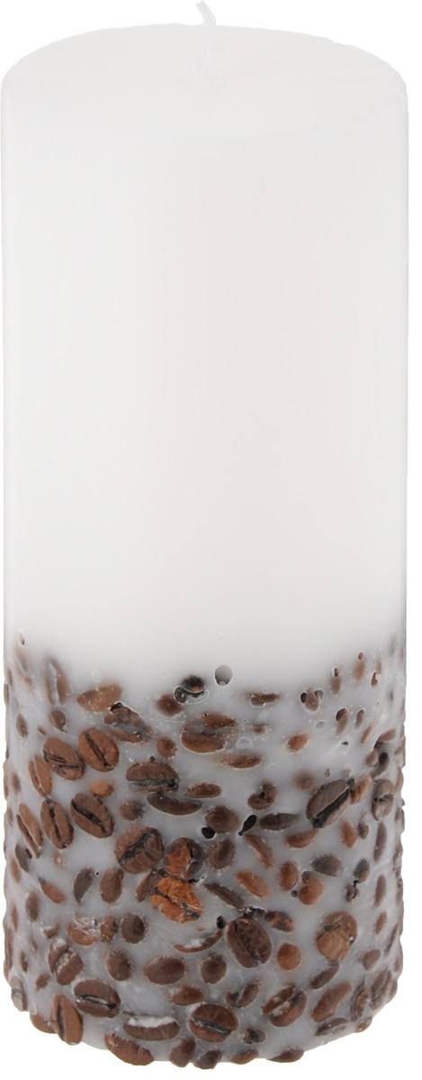 Свеча декоративная Proffi, с кофе, цвет: белый, темно-коричневый, высота 17 смPH5897Декоративная свеча Proffi, изготовленная из парафина и стеарина, выполнена в классическом стиле. Нижняя часть свечи декорирована зернами кофе. Такую свечу можно поставить в любое место, и она станет ярким украшением интерьера. Свеча Proffi создаст незабываемую атмосферу, будь то торжество, романтический вечер или будничный день.