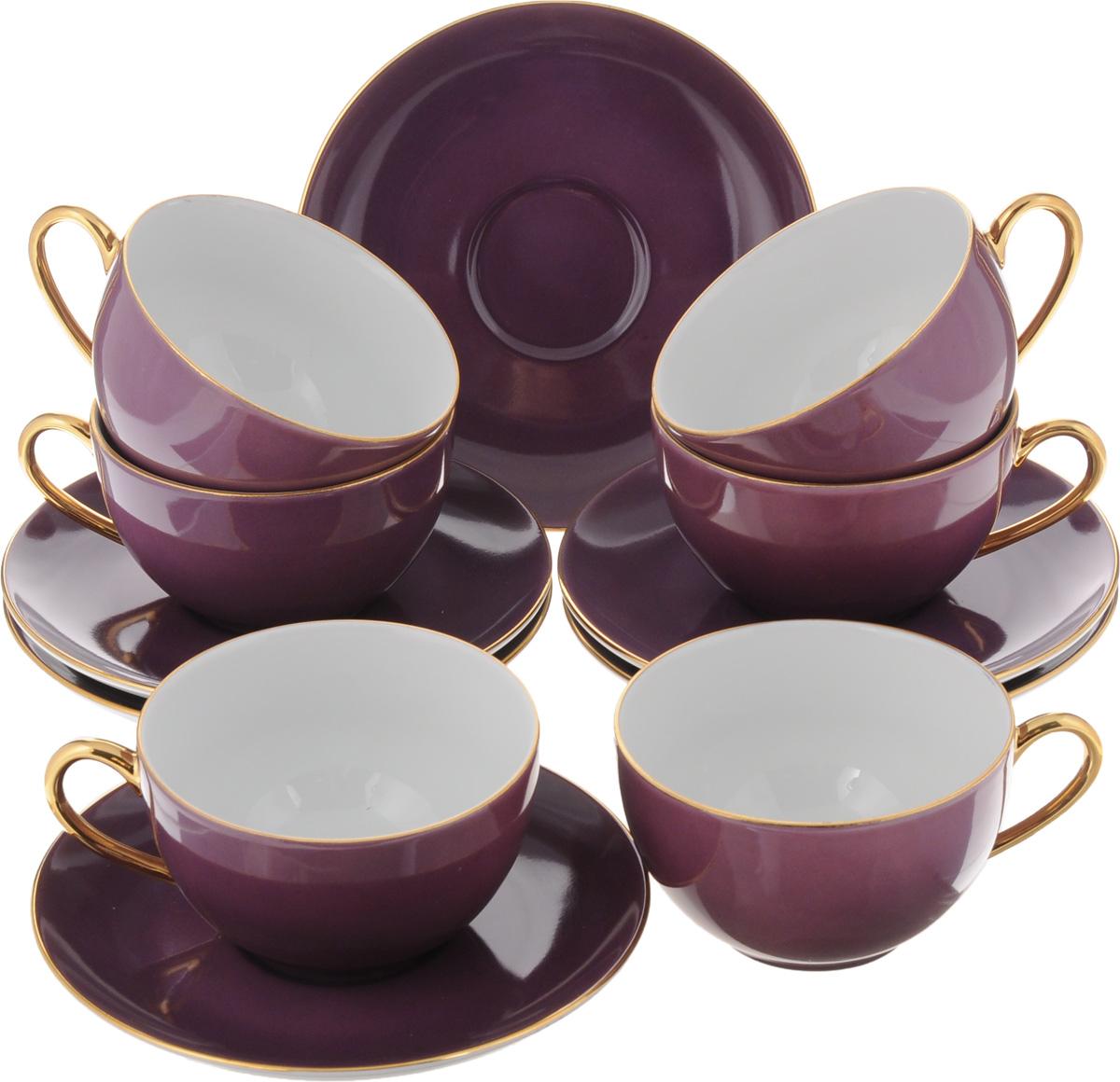 Набор чайный Yves De La Rosiere Monalisa, цвет: фиолетовый, 12 предметов619501 3124Чайный набор Yves De La Rosiere Monalisa состоит из 6 чашек и 6 блюдец, изготовленных из высококачественного фарфора. Такой набор прекрасно дополнит сервировку стола к чаепитию, а также станет замечательным подарком для ваших друзей и близких. Объем чашки: 220 мл. Диаметр чашки по верхнему краю: 9,5 см. Высота чашки: 5,5 см. Диаметр блюдца: 15 см. Высота блюдца: 2 см.