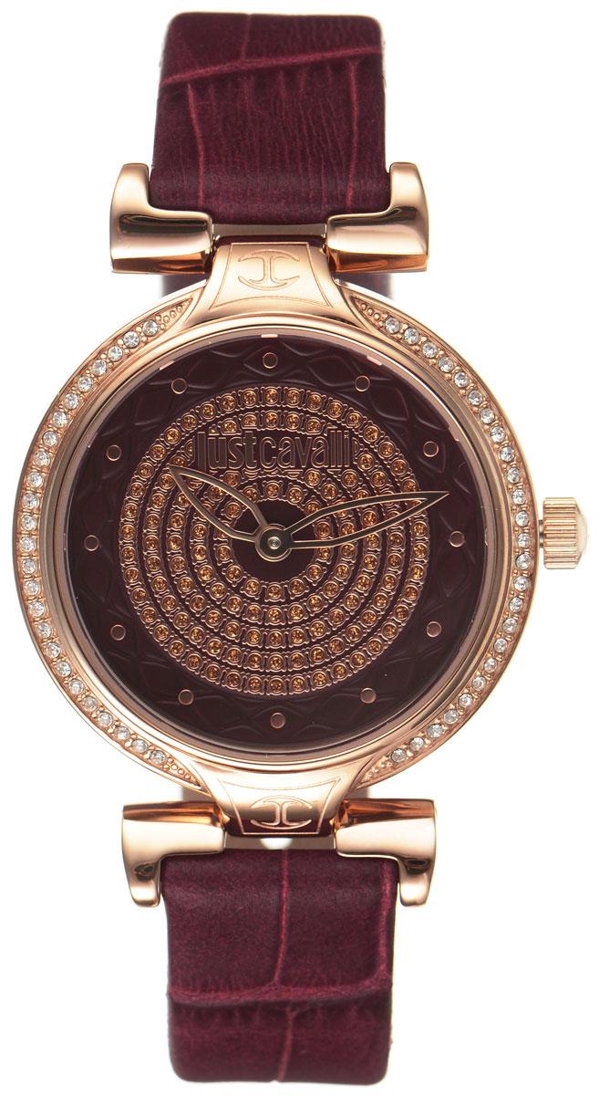 Часы наручные женские Just Cavalli, цвет: бордовый. R7251579502R7251579502Утонченные женские часы Just Cavalli произведены опытными специалистами из материалов самого высокого качества на базе новейших технологий. Часы оснащены точным кварцевым механизмом. Корпус часов выполнен из нержавеющей стали с PVD-покрытием, инкрустирован стразами и защищен минеральным стеклом. Ремешок выполнен из натуральной кожи с тиснением под крокодила и оснащен классической застежкой-пряжкой. Циферблат инкрустирован стразами и оснащен тремя стрелками - часовой, минутной и секундной. Часы укомплектованы в фирменную коробку с названием бренда. С этими часами вы не останетесь незамеченной. Гипнотический дизайн, глубокий бордовый цвет в сочетании с благородным золотым, блеск кристаллов - часы Just Cavalli аксессуар, достойный королевы.