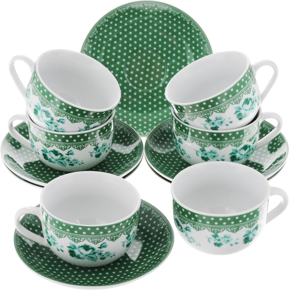 Набор чайный Loraine, цвет: белый, зеленый, 12 предметов. 2590925909Чайный набор Loraine состоит из 6 чашек и 6 блюдец. Изделия выполнены из высококачественного фарфора и оформлены ярким рисунком. Такой набор прекрасно дополнит сервировку стола к чаепитию, а также станет замечательным подарком для ваших друзей и близких. Объем чашки: 220 мл. Диаметр чашки по верхнему краю: 9 см. Высота чашки: 6,2 см. Диаметр блюдца: 14,5 см. Высота блюдца: 2,3 см.