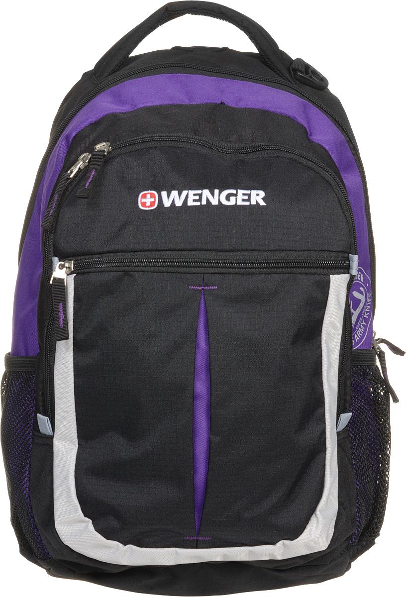 Рюкзак городской Wenger Montreux, цвет: черный, серый, фиолетовый, 26 л13852915Высококачественный и стильный, надежный и удобный, а главное прочный рюкзак Wenger Montreux. Благодаря своей многофункциональности данный рюкзак позволяет удобно и легко укладывать свои вещи. Для ноутбука есть специальное мягкое отделение под спинкой. А для мелочей, типа ключей, ручек, мобильного телефона и др. имеется карман-органайзер. Рюкзак изготовлен из прочных, современных материалов и надежной, стильной фурнитуры. Современные технологии и продуманная конструкция обеспечивают рюкзаку удобство и надежность.