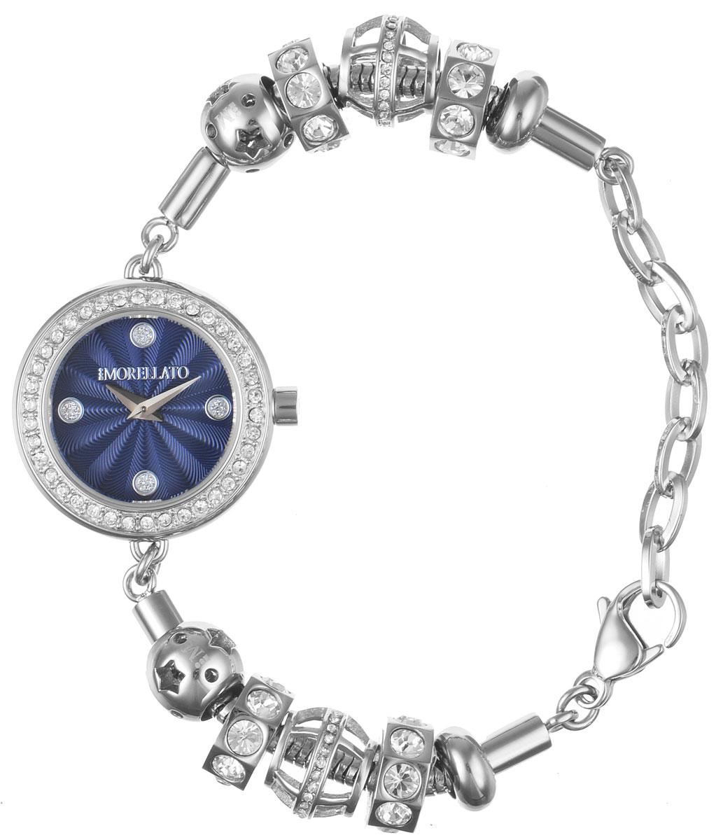 Часы наручные женские Morellato, цвет: серебристый. R0153122535R0153122535Изысканные женские часы Morellato изготовлены из высокотехнологичной гипоаллергенной нержавеющей стали. Ремешок выполнен из нержавеющей стали и оснащен практичной застежкой-карабином. Кварцевый механизм имеет степень влагозащиты равную 3 Bar и дополнен часовой и минутной стрелками. Корпус часов украшен ободком из стразов. Браслет выполнен из соединяющихся между собой элементов в стиле Пандора, инкрустированных стразами. Для того чтобы защитить циферблат от повреждений в часах используется высокопрочное минеральное стекло. На синем циферблате отметки в виде точек органично сочетаются с маленькими стрелками. Браслет комплектуется надежным и удобным в использовании замком-карабином, который позволит с легкостью снимать и надевать часы. Часы упакованы в фирменную коробку и дополнительно в подарочную коробку с названием бренда. Часы Morellato подчеркнут изящность женской руки и отменное чувство стиля у их обладательницы.
