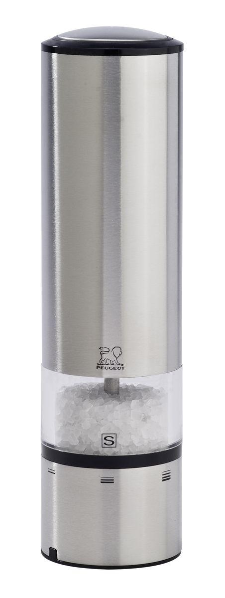 Мельница для соли и перца Peugeot Elis Sense, электрическая, высота 20 см27179Электрическая мельница Peugeot Elis Sense предназначена для приготовления свежемолотого перца и соли. Мельница изготовлена из высококачественной нержавеющей стали. Peugeot запускает первое поколение электрических мельниц с сенсорным управлением. Благодаря внедрению сенсорной технологии для самого первого раза, Elise Sense может похвастаться непревзойденной эргономикой. Больше нет необходимости нажимать на кнопку, достаточно легкого прикосновения, чтобы получить нужное вам количество соли или перца. Синяя подсветка указывает, что мельница находится в рабочем состоянии, а LED освещение в основании мельницы позволяет вам контролировать кол-во и степень помола специй. В комплекте имеется емкость с солью. Высота мельницы: 20 см. Диаметр мельницы: 5,5 см.