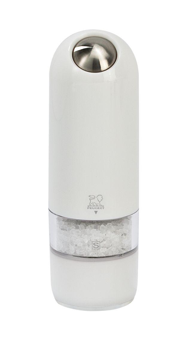 Мельница для соли Peugeot Alaska, электрическая, цвет: белый, высота: 17 см27674Мельницы этой коллекции обладают одновременно современным и винтажным дизайном. Она выделяется внешним обликом из ряда электрических мельниц гармоничным сочетанием пластмассы и металла. Эргономичная форма будет радовать поваров, которые могут пользоваться ей, держа в одной руке во время приготовления пищи другой. Свет в основании мельницы помогает увидеть, сколько соли или перца вы добавляете . Прозрачные стенки позволяют контролировать количество специй внутри.