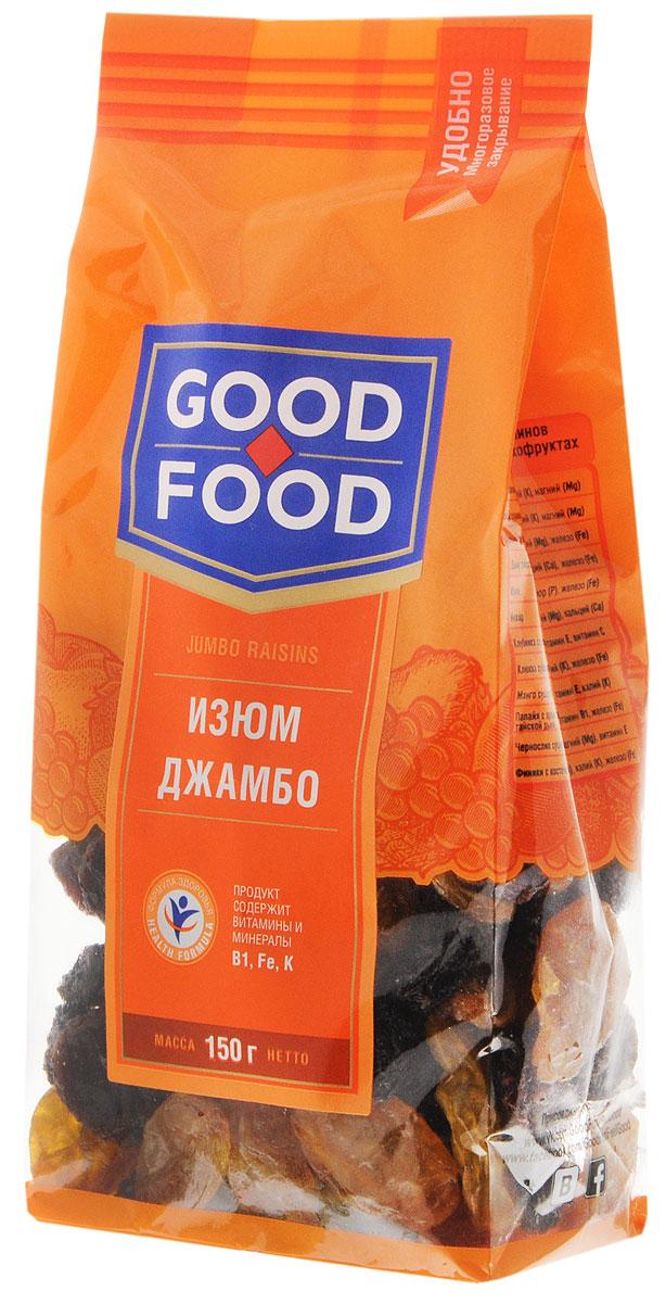 Good Food изюм Джамбо, 150 г4620000671350Изюм Джамбо - это вкусный и питательный продукт, обладающий полезными свойствами, заложенными самой природой. Самый вкусный, по мнению ценителей этого продукта, изюм сорта Джамбо отличается крупным калибром, нежной консистенцией и мягким вкусом.