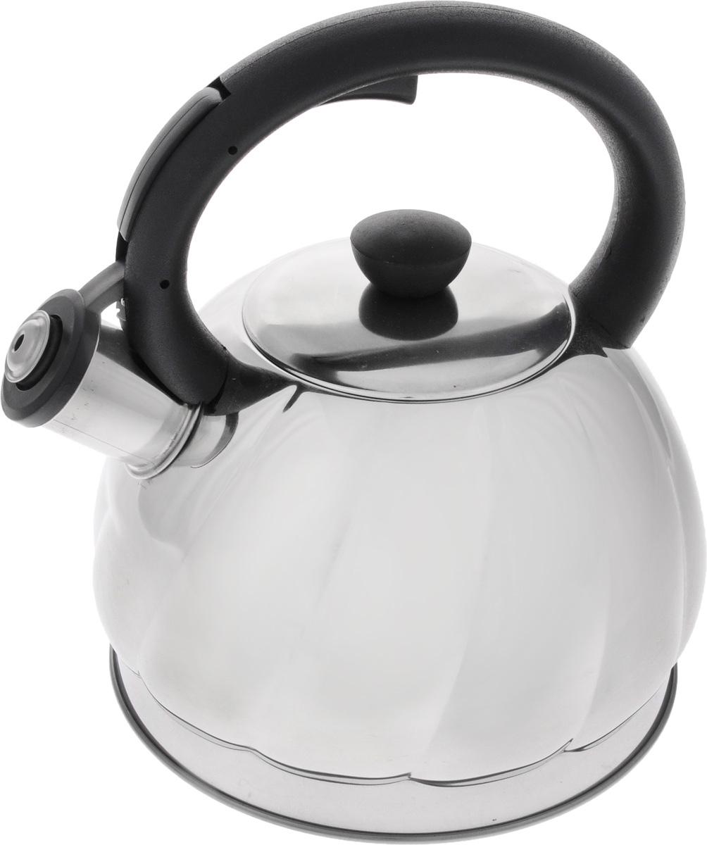 Чайник Mayer & Boch, со свистком, 2 л. 2589525895Чайник Mayer & Boch изготовлен из высококачественной нержавеющей стали, что обеспечивает долговечность использования. Носик чайника оснащен откидным свистком, звуковой сигнал которого подскажет, когда закипит вода. Свисток открывается нажатием кнопки на ручке, сделанной из пластика. Чайник Mayer & Boch - качественное исполнение и стильное решение для вашей кухни. Подходит для всех типов плит, включая индукционные. Можно мыть в посудомоечной машине. Высота чайника (с учетом ручки и крышки): 22,5 см. Высота чайника (без учета ручки и крышки): 12 см. Диаметр чайника (по верхнему краю): 9 см.