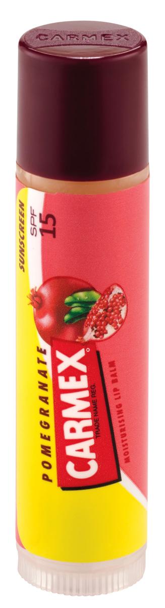 Carmex Бальзам для губ с ароматом граната с защитой от воздействия ультрафиолета SPF15, стик в блистере, 4,25 г00706СХУникальная формула CARMEX содержит специальные ингредиенты, которые вызывают ощущение покалывания - это означает, что CARMEX работает; увлажняя и защищая губы, делает их мягкими и здоровыми.