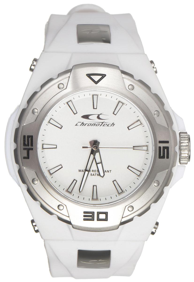 Часы наручные мужские Cronotech, цвет: белый. RW0017RW0017Роскошные мужские часы Cronotech произведены опытными специалистами из материалов самого высокого качества на базе новейших технологий. Часы оснащены точным кварцевым механизмом. Корпус часов выполнен из гипоаллергенной нержавеющей стали и каучука, имеет степень влагозащиты, равную 5 Bar, снабжен устойчивым к царапинам минеральным стеклом. Изделие дополнено ремешком из каучука, оснащенным удобной застежкой, позволяющей максимально комфортно и быстро снимать и одевать часы. Циферблат оснащен отметками, а также тремя стрелками со светонакопительным составом - часовой, минутной и секундной. Часы укомплектованы в фирменную коробку с названием бренда.