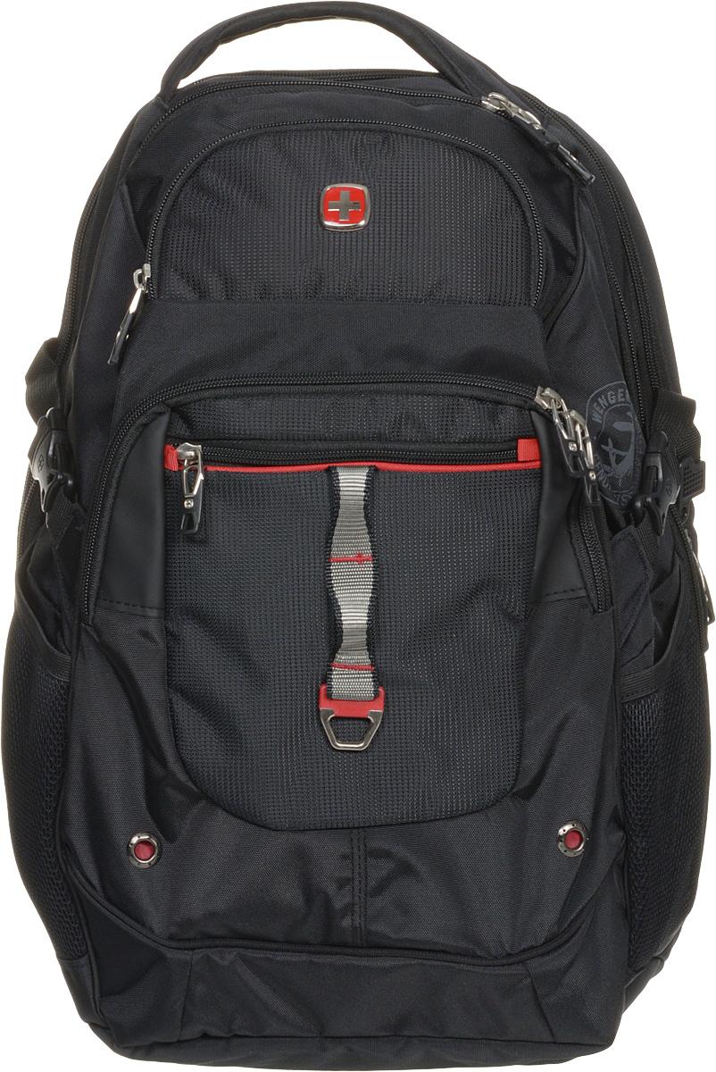 Рюкзак городской Wenger, цвет: черный, красный, 34 x 22 x 46 см, 34 л6968201408Высококачественный и стильный, надежный и удобный, а главное прочный рюкзак Wenger. Благодаря многофункциональности данный рюкзак позволяет удобно и легко укладывать свои вещи. Особенности рюкзака: 2 внешних кармана на молнии. 2 внешних сетчатых кармана для бутылок с водой. Большое основное отделение. Внешний карман для очечника на молнии. Внешнее металлическое кольцо. Внутренний карабин для ключей. Возможность крепления на чемодане. Карман-органайзер для мелких предметов. Карман для планшетного компьютера с диагональю до 38 см. Металлические застежки молний с пластиковыми вставками. Мягкая ручка для переноски. Отделение на липучке для ноутбука 15 с системой ScanSmart. Петля для очков. Регулируемые плечевые ремни Внутренний сетчатый карман на молнии для хранения аксессуаров ноутбука. Стягивающие ремни. Эргономичная спинка с системой циркуляции воздуха Airflow.