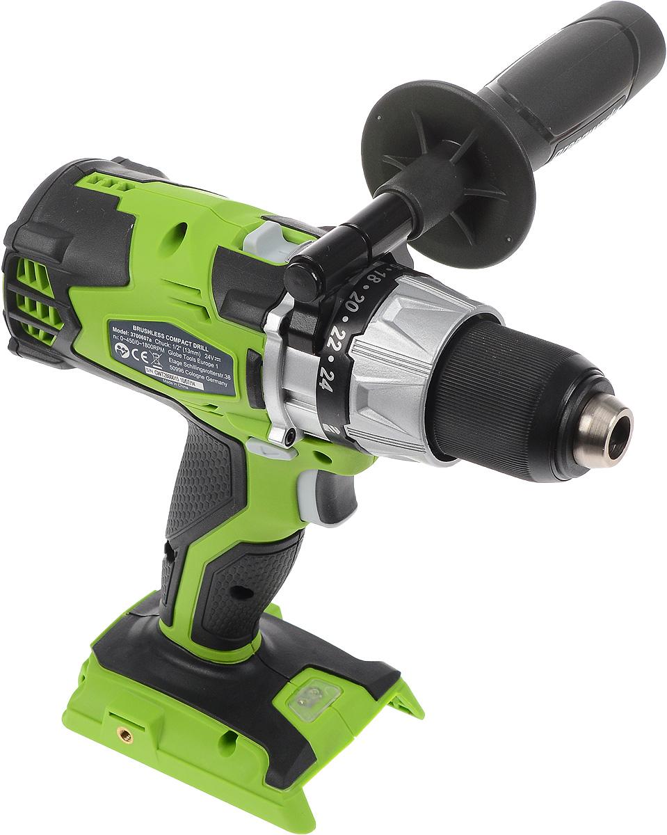 Дрель-шуруповерт аккумуляторная Greenworks GD24D, бесщеточная, без АКБ и ЗУ, цвет: зеленый, серый, черный, 24В3700607_зелёный, серыйАккумуляторная дрель Greenworks GD24DD – это высокопроизводительный электроинструмент, предназначенный для сверления отверстий в различных материалах, таких как металл, пластмассы, дерево и прочих, а также для закручивания и откручивания шурупов. Данная модель оснащена бесщеточным электродвигателем Digi Pro. Двигатель Digi Pro эффективнее и надежнее обычного щеточного. Не требует дополнительного обслуживания. Проста в эксплуатации. Имеет пониженный уровень вибраций и шума. Эта модель оснащена удобным крюком для крепления на ремне, а также светодиодным фонарем для освещения рабочей поверхности. Текстурированная, обрезиненная рукоятка для удобства хвата. Переключатель направления вращения. Благодаря питанию от 24V аккумулятора (не входит в комплект) инструмент обеспечивает долгую автономную работу.