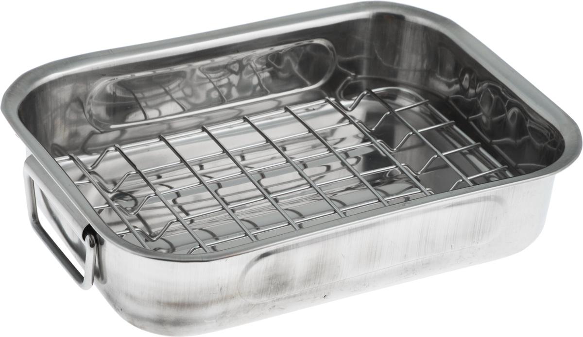 Лоток для жарки SSW, 25 х 20 х 6 см471125Лоток SSW с сеткой для гриля позволяет получить жареное мясо или другие продукты с золотистой корочкой и без лишнего жира. Изделие выполнено из высококачественной нержавеющей стали. По бокам расположены складные ручки для удобной эксплуатации. Подходит для использования в духовке. Можно мыть в посудомоечной машине. Внешний размер: 25 х 20 см. Внутренний размер: 25 х 18 см. Высота стенки: 6 см.