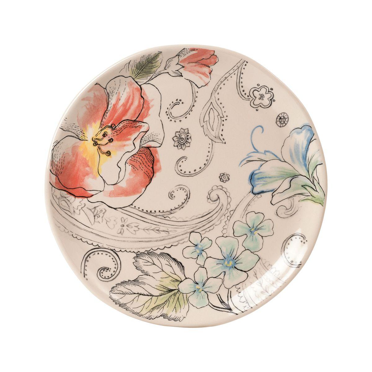 Тарелка малая Fitz and Floyd Цветочный узор20-621Допустимо использование в микроволновой печи и посудомоечной машине